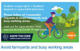 Avoid farmyards and busy working areas - advice notice