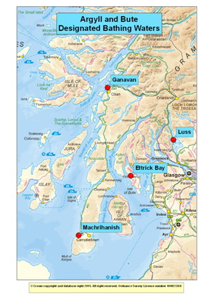 Map of Designated Bathing Waters in Argyll and Bute